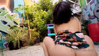Busty Latina fucks for cash outdoor